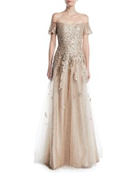 Rene Ruiz Off The Shoulder Gown W Tulle And Floral Applique Gold
