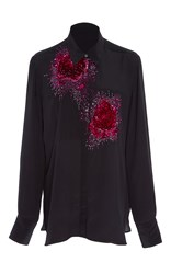 Figue Beaded Emmanuelle Tux Shirt Black Red