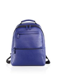 Saks Fifth Avenue Oblique Zip Leather Backpack Green Black Blue