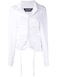 Jacquemus Drawstring Gathered Shirt Women Cotton Polyester 38 White