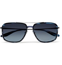 Barton Perreira Magnate Aviator Style Acetate And Pewter Tone Sunglasses Midnight Blue