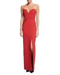 Nicole Miller Strapless Sweetheart Column Gown With Slit Red