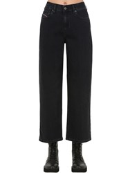 Diesel High Rise Wide Leg Stretch Denim Jeans Black