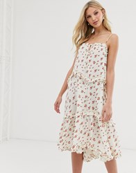 Lost Ink Cami Midi Dress With Tiered Skirt In Vintage Floral White