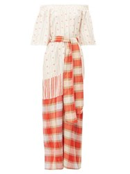 Ace And Jig Casa Tulip Jacquard Check Cotton Maxi Dress Red
