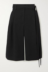 Valentino Belted Wool Twill Shorts Black