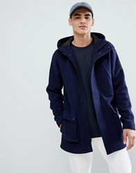 Only And Sons Wool Parka Maritime Blue Navy