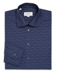 Eton Printed Wide Collar Shirt Blue Flower