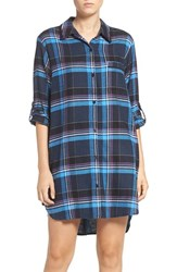 Dkny Women's 'Boyfriend' Print Sleep Shirt Peacoat Heather Plaid