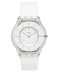 Swatch Watch Unisex Swiss White Classiness White Silicone Strap 34Mm Sfk360