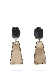 Proenza Schouler Stone Hammered Clip On Earrings Blue