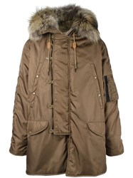 As65 Padded Hooded Parka Coat Brown