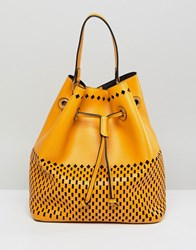 Qupid Bucket Shoulder Bag With Front Pouch Yellow