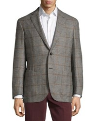 Luciano Barbera Wool Cashmere Blend Houndstooth Jacket Black White