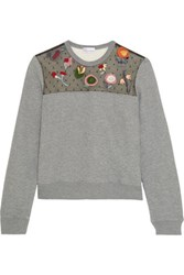 Red Valentino Redvalentino Embroidered Point D'esprit Paneled Jersey Sweatshirt Gray