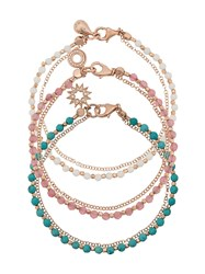 Astley Clarke Fair Weather Bracelet Stack Rose Gold Turquoise Blue White