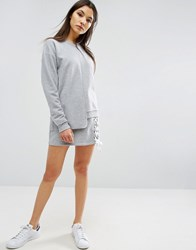 Asos Mini Sweat Skirt With Lace Up Detail Grey Marl