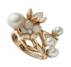 Shaun Leane Silver Rose Gold Plate Cherry Blossom Ring With Diamonds And White Pearls Med M