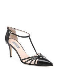 Sarah Jessica Parker Carrie T Strap Leather Heels Black