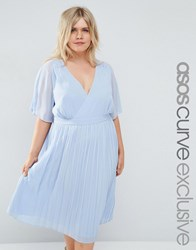 Asos Curve Cape Wrap Midi Dress With Pleated Skirt Blue