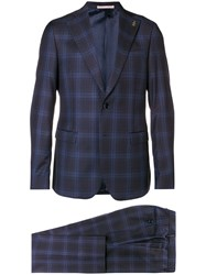 Paoloni Checked Two Piece Suit Blue
