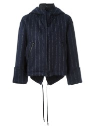 Cedric Charlier Cropped Hooded Parka Blue