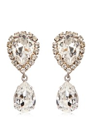 Dolce And Gabbana Large Swarovski Drop Clip On Earrings