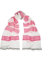 Lemlem Samara Striped Cotton Blend Scarf Pink