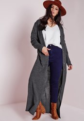 Missguided Plus Size Longline Button Up Cardigan Grey Grey