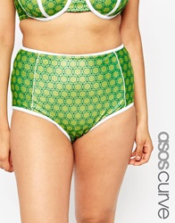 Asos Curve Highwaist Bikini Bottom With Contrast And Support In Retro Floral Print