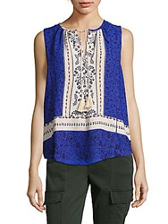 Collective Concepts Printed Tassel Tank Top Cream Blue