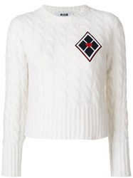 Msgm Cable Knit Cropped Jumper Women Polyamide Wool Xs White