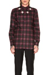 Givenchy Star Bleach Plaid Shirt In Checkered And Plaid Black Red