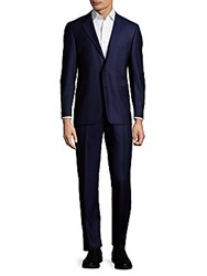 Hickey Freeman Solid Wool Suit Navy