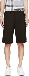Versace Black Cotton Pleated Shorts