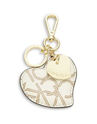 Calvin Klein Leather Heart Keychain Almond Khaki Camel