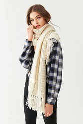 Urban Outfitters Cable Knit Extra Long Scarf Ivory