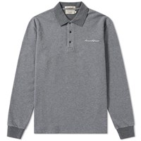 Maison Kitsune Long Sleeve Pique Loop Polo Grey
