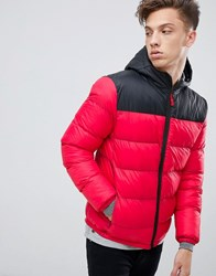 Tokyo Laundry Panelled Puffer Jacket With Hood Red