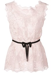 Marchesa Sleeveless Belted Top Pink