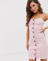 Na Kd Ribbed Buttoned Dress In Pink