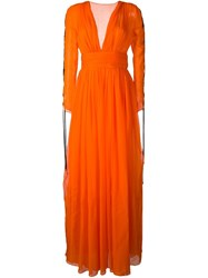 Fausto Puglisi V Neck Gown Yellow And Orange