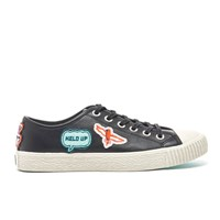 Paul Smith Ps By Women's Inna Vulcanised Embroidered Motif Trainers Black Badges Mono Lux