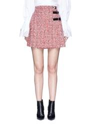 Alexander Mcqueen Buckle Pleated Tweed Wrap Mini Skirt Red