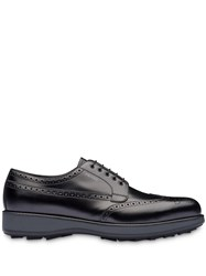 Prada Brushed Leather Derby Shoes Black