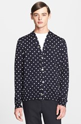 Men's Comme Des Garcons Dot Pattern Cardigan Navy