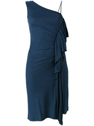 Paul And Joe Ruffled One Shoulder Dress Women Silk Polyamide 38 Blue