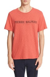 Balmain Men's Pierre Logo Graphic T Shirt Red Vintage