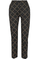 Etoile Isabel Marant Janelle Printed Cotton Tapered Pants Black