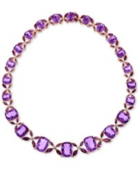 Lali Jewels Amethyst 98 3 4 Ct. T.W. Rhodolite Garnet 24 5 8 Ct. T.W. And Diamond 3 4 Ct.T.W. Collar Necklace In 14K Rose Gold